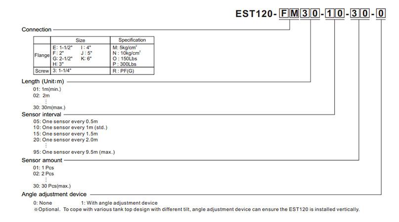 Order informartion của cảm biến tích hợp đo mức và nhiệt độ Finetek EST120