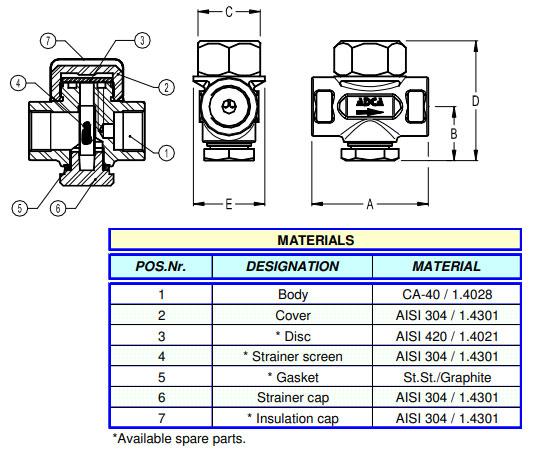 Cấu tạo Xả khí đường hơi Adca Model DT40S