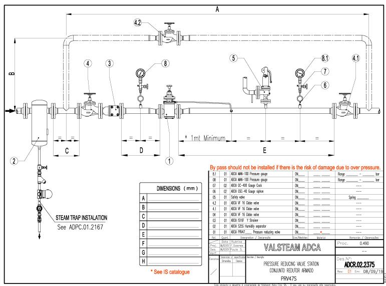 Sơ đồ lắp đặt trạm van giảm áp trực tiếp - Van điều áp