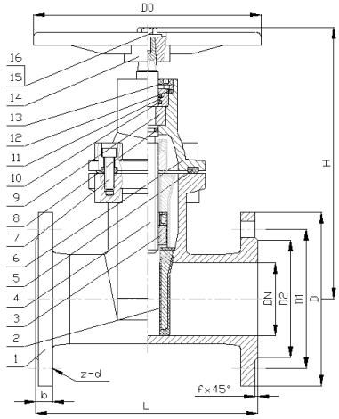 Cấu tạo của Van cổng Genebre 2102