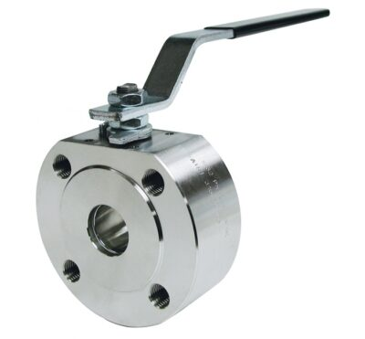 Wafer type. 1 pc full bore ball valve mounting between flanges