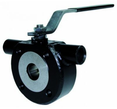 Wafer type. 1 pc full bore ball valve with heating chamber mounting between flanges