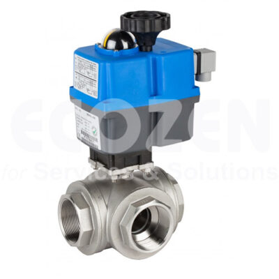Electric Control 3 ways reduced bore ball valve Genebre Model 5641