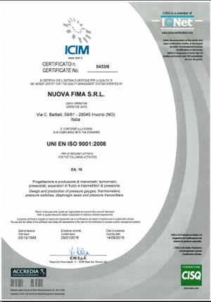 chứng nhận hãng nuova fima