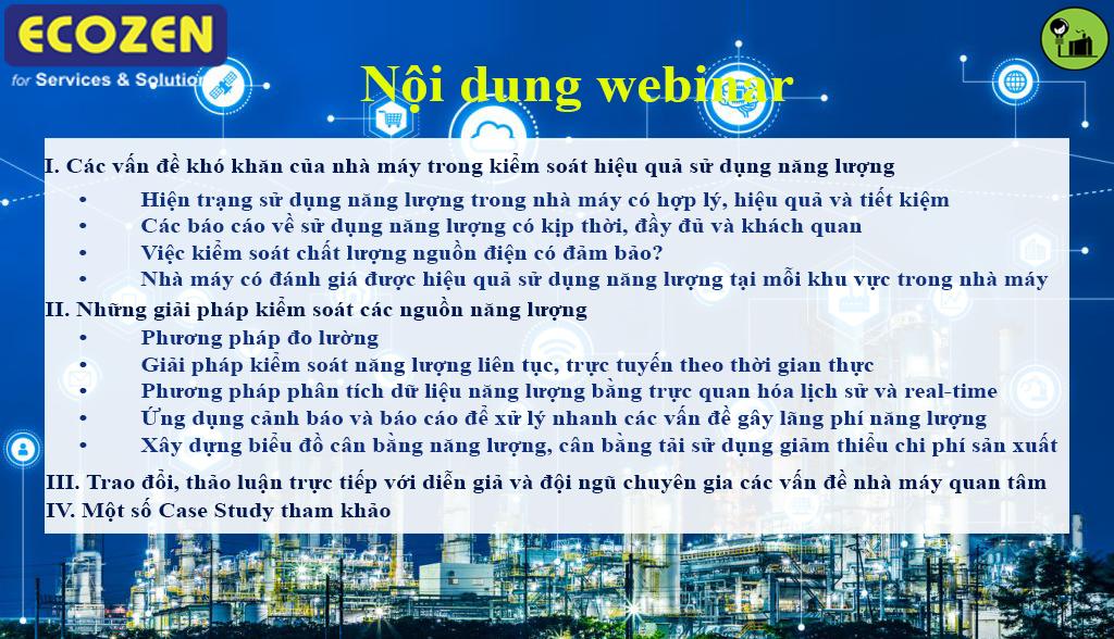 Hội thảo trực tuyến về giải pháp kiểm soát và bảo toàn năng lượng