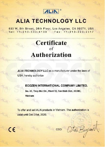 Giấy chứng nhận ECOZEN là nhà phân phối chính thức của Alia tại Việt Nam